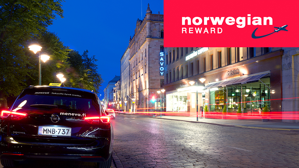 Menevä taksi on Norwegian Reward Partner